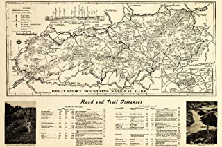 Great Smoky Mountains National Park, Tennesseee - (1941) - Panoramic Map (9x12 Fine Art Print, Home Wall Decor Artwork Poster)