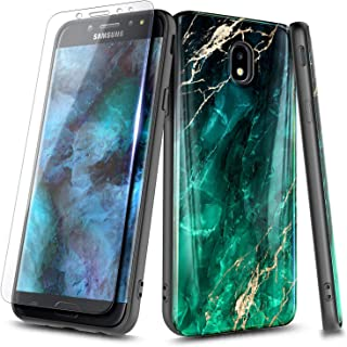 NageBee Case for Samsung Galaxy J7 Crown, J7 Star/J7 Refine/J7 2018/J737/J7 TOP/J7 V 2nd Gen/J7 Aura/J7 Aero with Tempered Glass Screen Protector, Ultra Slim Thin Glossy Stylish Cover Case -Emerald