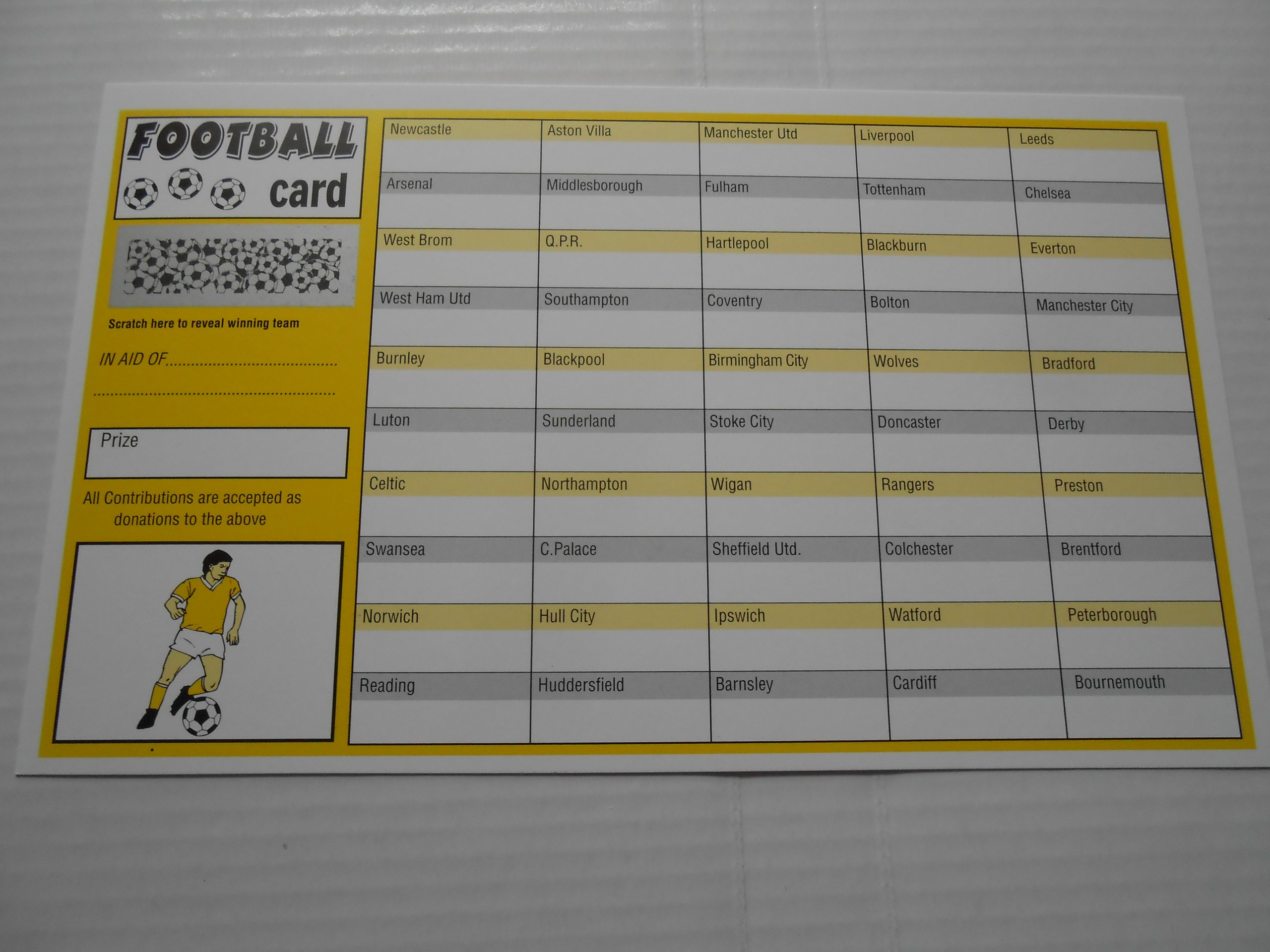 FOOTBALL SCRATCH CARD X 1 ONLY = 100 SPACES = EASY WAY TO RAISE FUNDS