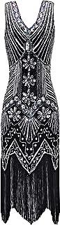Women's Flapper Dress 1920s V Neck Beaded Fringed Gatsby Theme Roaring 20s Dress for Prom