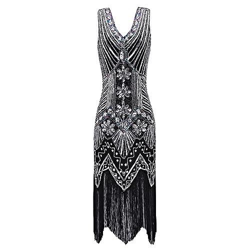 55916929d8bd Metme Women s 1920s V Neck Beaded Fringed Gatsby Theme Flapper Dress for  Prom