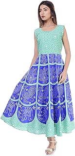 6TH AVENUE STREETWEAR Women's Cotton Dress (Free Size, Sea Green)