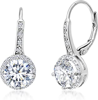 Cubic Zirconia Halo Leverback Dangle Bridal Gift Earrings for Women for in Sterling Silver (Various Colors)