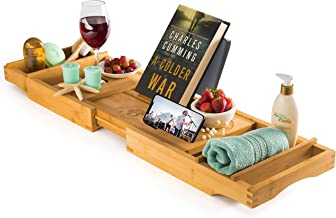 Luxury Bamboo Bathtub Tray Caddy - Expandable and Nonslip Bath Caddy with Book/Tablet and Wine Glass Holder - Great Gift Idea for Loved Ones