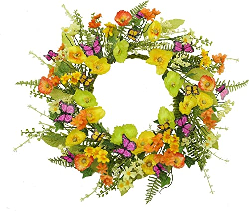 wholesale 14 Inches Spring Door Floral Wreath Artificial high quality Wild Flower Flower Wreath for Summer Front Door Wall Window Room Outdoor Decor Easter Mother's lowest Day Wedding Party Decoration outlet sale