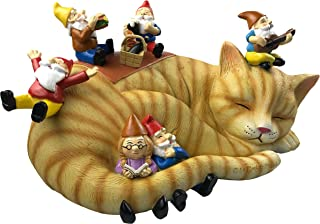 By Mark & Margot - Outdoor Garden Gnomes Picnic Sleeping Cat Statue - Beautiful Funny Novelty Gift (One Size, with Granny)