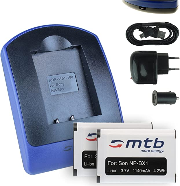 2 Baterìas + Cargador (USB/Coche/Corriente) para Sony NP-BX1 / HDR-AS50 AS200V / DSC-HX90(V) HX400 RX100 III WX500 / X1000V. Ver Lista