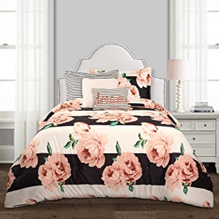 Lush Decor, Black & Dusty Rose Amara Floral 5 Piece Comforter Set, Twin-XL