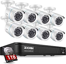 ZOSI 1080P H.265+ Home Security Camera System,5MP Lite  8 Channel CCTV DVR Recorder with Hard Drive 1TB and 8 x 1080p Weatherproof  Bullet Camera Outdoor Indoor with 80ft Night Vision, Motion Alerts