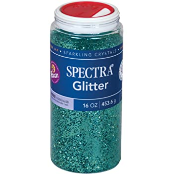 Pacon P0091110 Spectra Glitter Sparkling Crystals, Turquoise, 16-Ounce Jar
