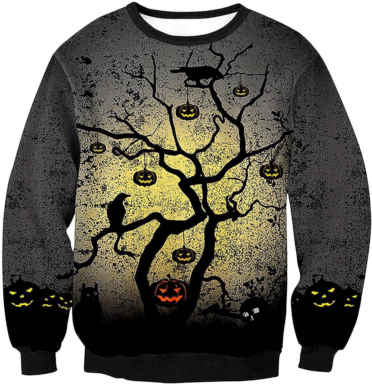 Long Sleeve T Shirt for Men 3D Print Pullover Top Crewneck Hoodless Guard Horror Pumpkin Tops Halloween Clothen