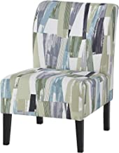 Ashley Furniture Signature Design - Triptis Accent Chair - Contemporary - Geometric Pattern in Green/Blue/Gray - Dark Brown Legs