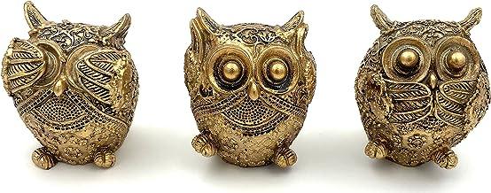 3 Pcs Wise Owl Decoration Statue Animal Figurine Home Office Desk Décor Ornament Shelf Gift Resin Sculpture Small Cute Cra...