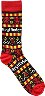 Harry Potter Gryffindor Ugly Sweater Pattern Crew Christmas Socks