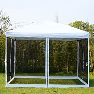 Globe House Products GHP 10x10 Ft. Beige Outdoor Pop up Tent Canopy Gazebo