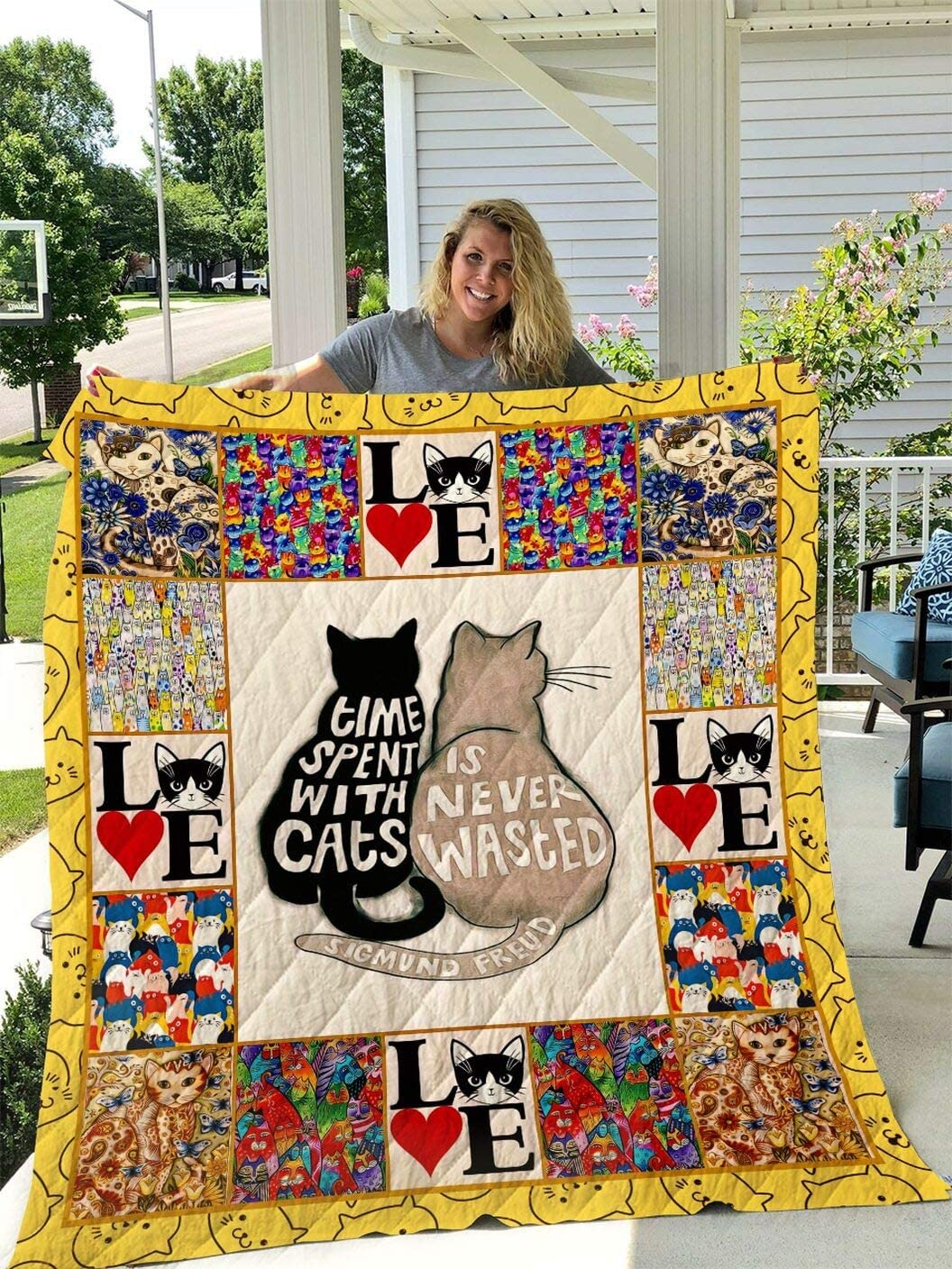 Personalized Cat Couple Quilt King Throw outlet 2021 spring and summer new Si Twin Queen