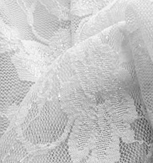 5 Yards of White Giselle Stretch Floral 4 Way Stretch Lace Fabric 58