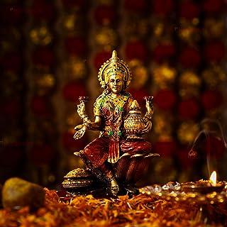 TIED RIBBONS Lord Lakshmi Idol Hindu Goddess of Wealth Sitting Laxmi Statue on Lotus Indian God Murti for Pooja Decor Mand...