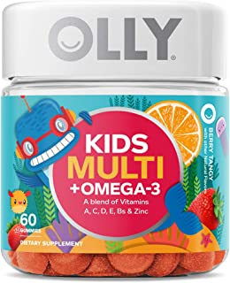 OLLY Kids Multi + Omega 3 Gummy Multivitamin, 30 Day Supply (60 Gummies), Berry Tangy,..