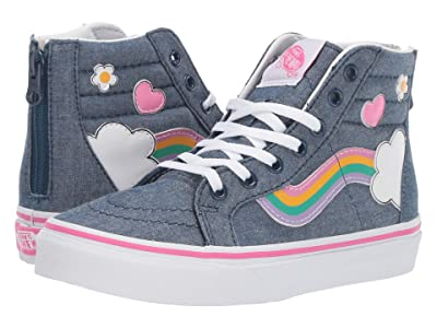 Vans Kids Sk8-Hi Zip (Little Kid/Big Kid) ((Rainbow Sidestripe) Denim/True White) Girls Shoes