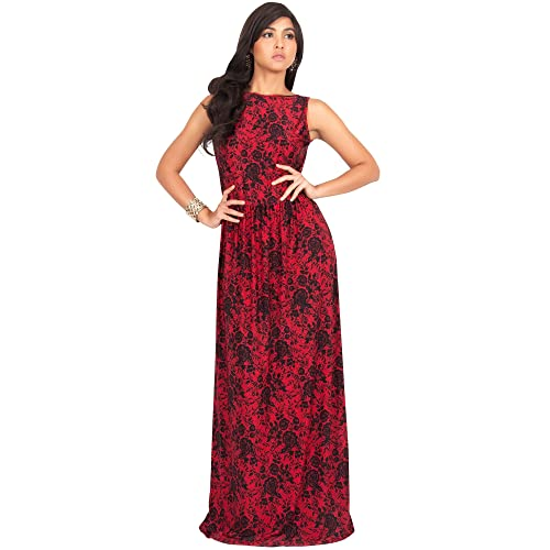 Red with Black Lace Long Dresses: Amazon.com