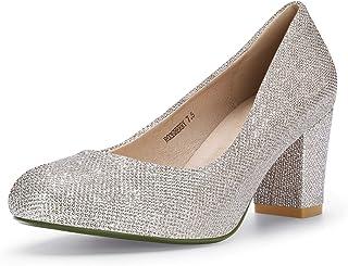 b82aea6e7a IDIFU Women's RO3 Sherry Round Toe Medium Block Heel Slip on Pumps Shoes