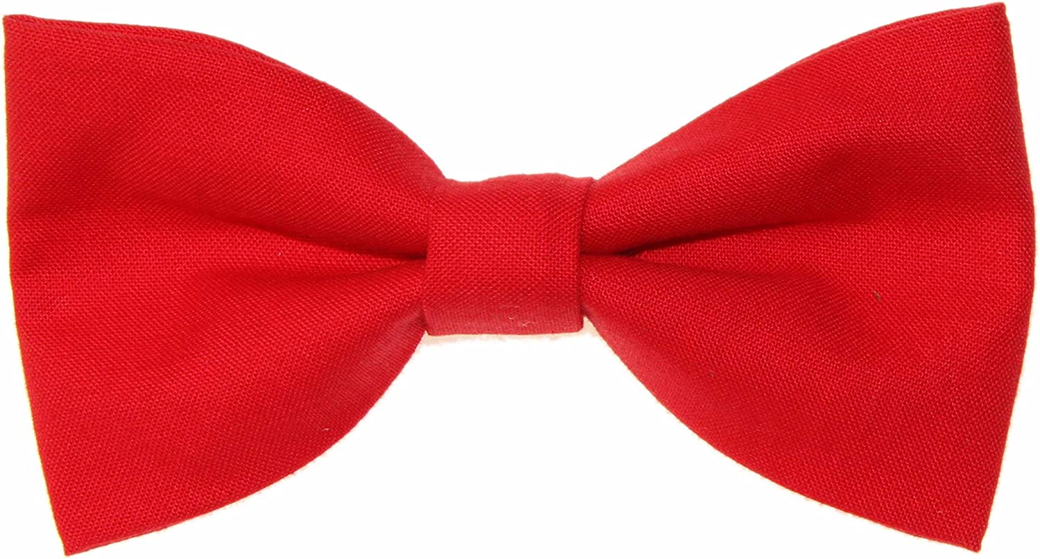 Men's Solid Red Clip On Cotton Bow Tie