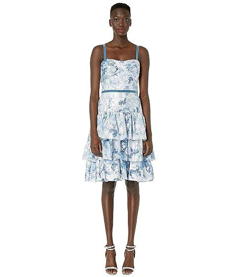 Marchesa Notte Sleeveless Metallic Printed Tiered Coctail Dress