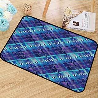 Indoor and Outdoor Door mats Navy Blue Decor for porches Complex Structured Different Lines and Patterns Polka Dots Tiles Stripes Patch Work W16 x L24 Purple Blue