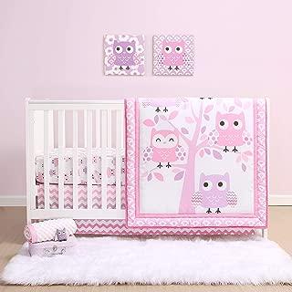 The Peanutshell Dancing Owl Crib Bedding Set for Baby Girls | 3 Piece Nursery Set | Baby Quilt, Crib Sheet, and Dust Ruffle