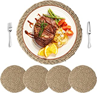 HomeDo 4Pcs Cattail Straw Round Woven Placemats for Dining Table, Rattan Table Mats, Natural Straw Mat Braided, Weave Placemats Handmade (Grass-4, 11.8''(30cm)) …