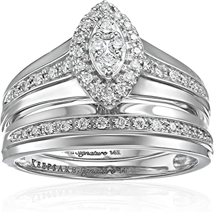 Keepsake Signature 14k White Gold Diamond Marquise Halo Ring with Matching Wedding Band Set (3/8cttw, H-I Color, I1 Clarity)