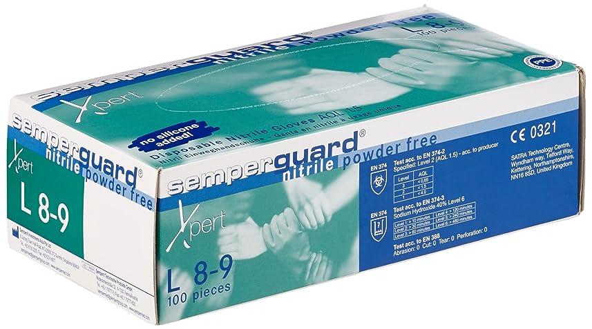 ふざけた特殊ブラストSemperit 使い捨てニトリル手袋 Xpert 0.24mm 粉無 緑青 L(入数:100枚) 3000001629