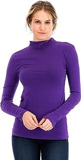 NANAVA Women's Casual Slim Fit Cotton Long Sleeve Mock Neck Top T-Shirt