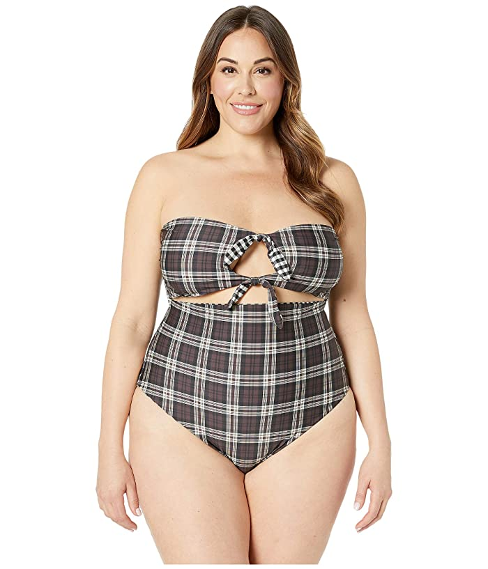 Volcom Plus Size Plaid Attitude One-Piece (Dark Chocolate) Women