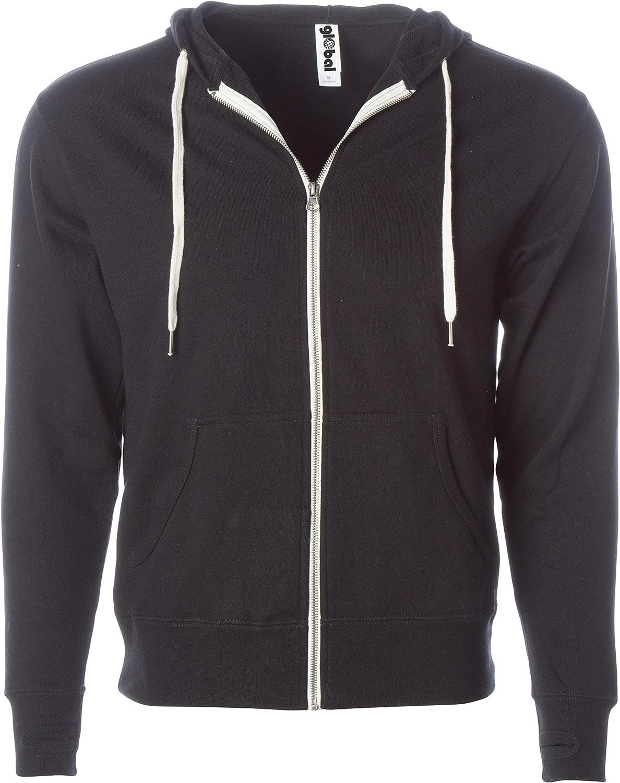 Global Blank Unisex Slim Fit French Terry Lightweight Zip-Up Sweatshirt Hoodie