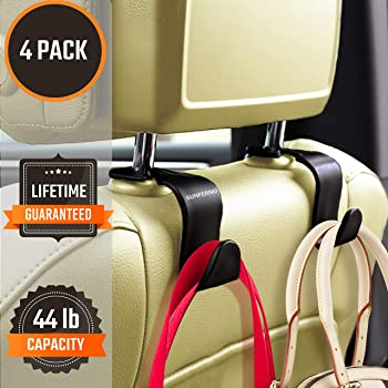 Purses and Car Storage Maxsa 20057 Metal Headrest Hanger 2 Hooks for Bags Chrome 2-Pack
