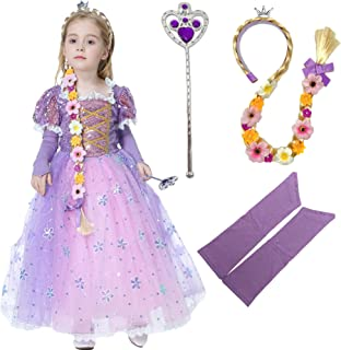 Deaboat Longhair Rapunz Princess Dress Costume Queen Dress Up Cosplay Outfit Purple Puff Sleeve TUTU Skirt for Toddlers Girls