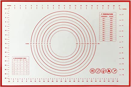 INMAKER Silicone Pastry Mat for Rolling Dough with Measurements Non Slip Silicone Baking Mat with Conversion Charts (60cm x 40cm)