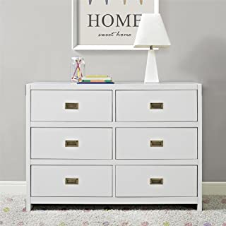 white and brass dresser