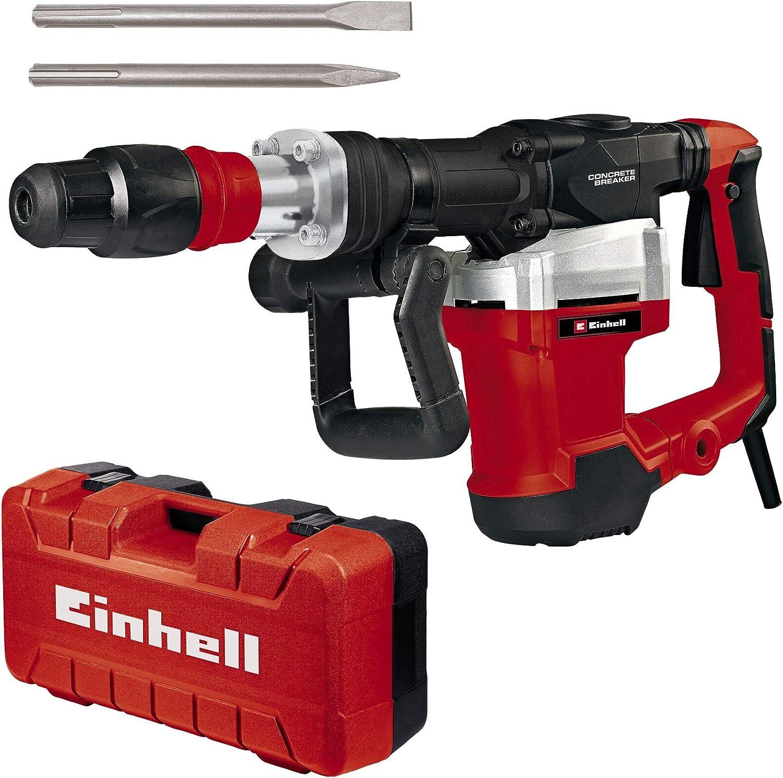 Einhell Martillo de demolici/ón TE-DH 32 1500 W, 32 J, 1900 min-1, portaherramientas SDS-max, mango principal amortiguado contra las vibraciones+empu/ñadura suave, incl. cincel de punta//plano, e-box