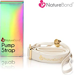 NatureBond Pump Strap for Silicone Breast Pump/Breastfeeding/Breastmilk Saver - PU Leather Ivory Color in Hologram Gift Box