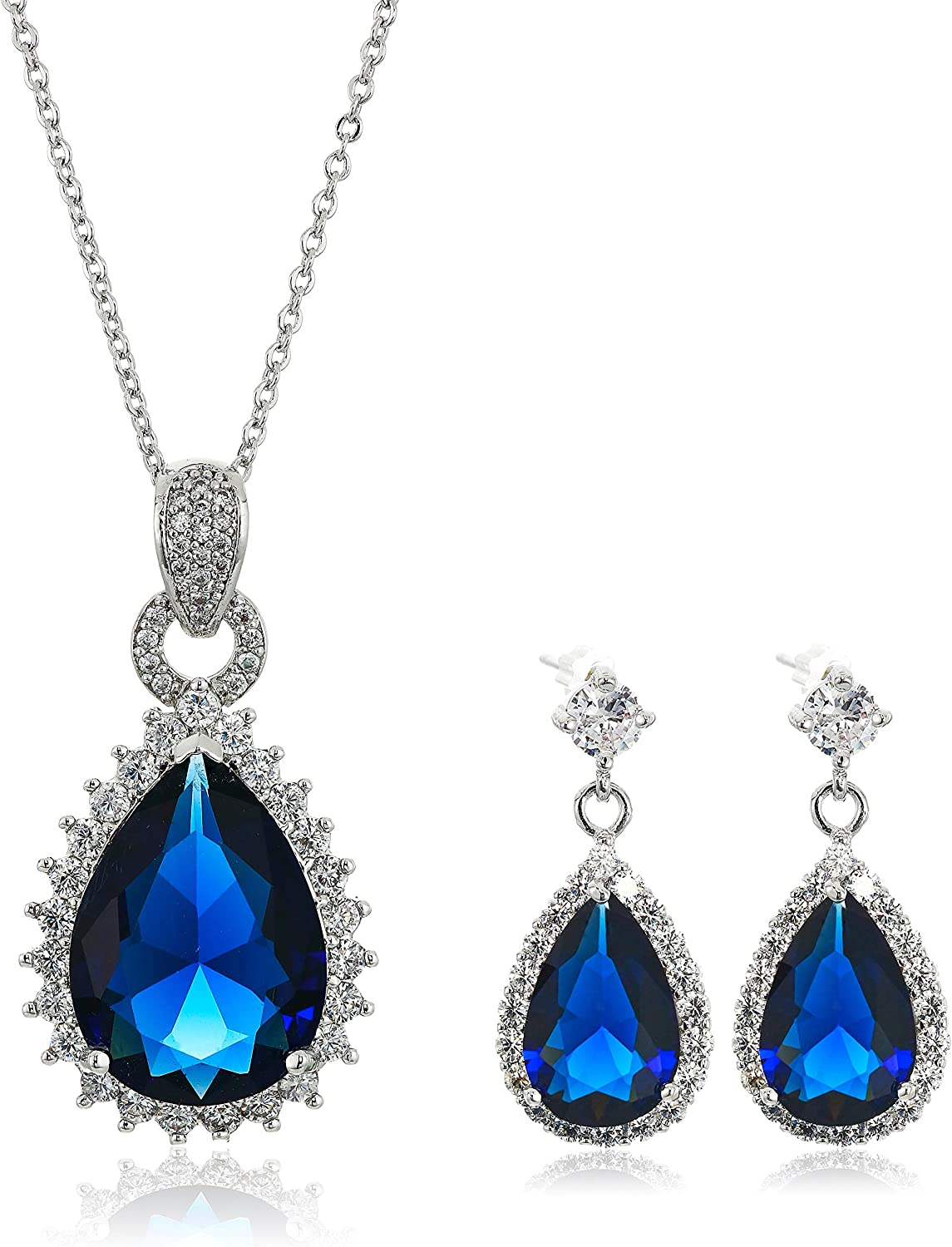 Crystalline Azuria Jewelry Sets for Women - Premium Wedding Jewelry Sets - Bridal Jewelry Set with Necklace and Earring for Bride - Cubic Zirconia Bridesmaid Jewelry - Formal Prom Costume Jewelry