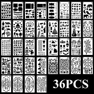 Idealeben 36 Pochoirs de Journal Réutilisables pour l'artisanat, Pochoirs de Peinture en Plastique Réutilisables pour Bull...