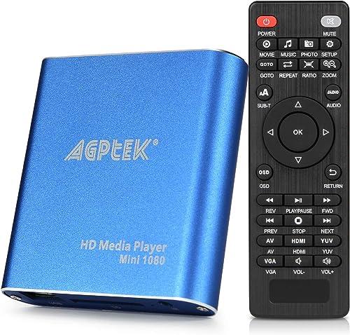 HDMI Media Player, Blue Mini 1080p Full-HD Ultra HDMI Digital Media Player for -MKV/RM- HDD USB Drives and SD Cards