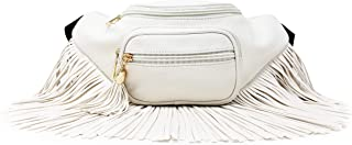 Womens Fringe Tassel Fanny Pack with Faux Leather Coachella Festival Multi Zipper (White)