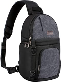MOSISO Camera Sling Bag, DSLR/SLR/Mirrorless Case Water Repellent Shockproof Backpack with Adjustable Crossbody Strap and Removable Modular Inserts Compatible with Canon, Nikon, Sony etc, Black