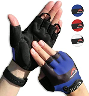 Cycling Gloves Mountain Bike Gloves Road Racing Bicycle Gloves for Biking, Mountain Biking, Riding, Gym, Sports, Foam Padded Breathable Half Finger Gloves, Men Women Work Gloves Blue Small