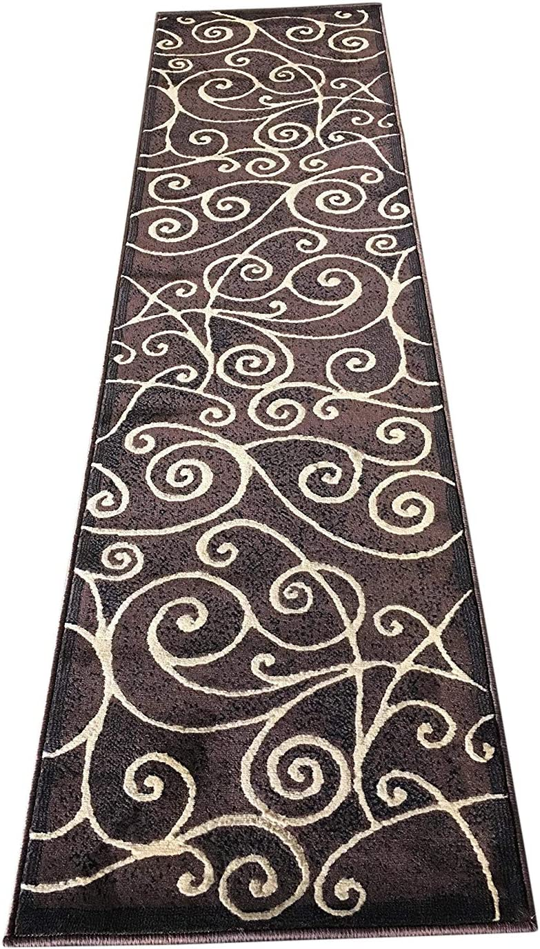 Recommended Super sale period limited Gallery Modern Runner Abstract Contemporary Chocolate Swirl Rug