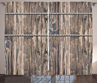 Ambesonne Rustic Curtains, Image of Wooden Planks with Screws and Nails Farmhouse Theme Log Cabin Print, Living Room Bedroom Window Drapes 2 Panel Set, 108